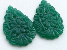 Green Onyx Filigree Hand Carved Matched Pair by gemsforjewels