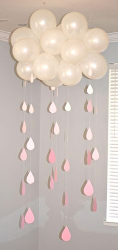 Shower decoration with balloon cloud with rain drops falling