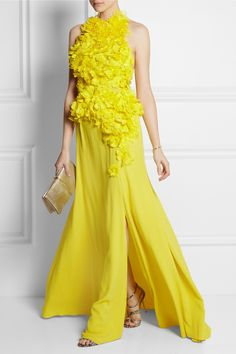 Nina Ricci|Mesh-appliquéd silk-crepe gown|NET-A-PORTER.COM