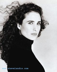 black and white head shot portriat of actress Andie MacDowell