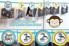 Mod Monkey Highchair Banner I am 1 highchair  - Mod Monkey GIRL Mod Monkey BOY - 1st year birthday party - High Chair Sign (DIY Printable)