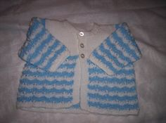 For Baby aged around 12 months, a beautiful baby blue and white Matinee Jacket. shoulder to shoulder 24cm, cuff to cuff 62cm,