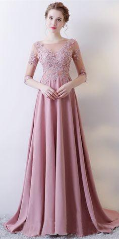 A Line Half Sleeve Applique Long Prom Dress - Cute Dresses Evening Dresses With Sleeves, A Line Prom Dresses, Beautiful Prom Dresses, Trendy Dresses, Elegant Dresses, Cute Dresses, Evening Gowns, Short Dresses, Fashion Dresses