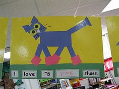 pete the cat art idea...geometric shapes and literacy! 1st or 2nd