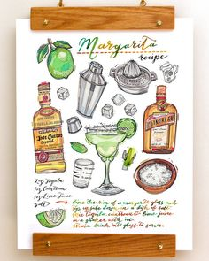 Margarita print. Cocktail illustration. Recipe. Bar decor. Kitchen decor. Summertime. Tequila. Drinks. Classic cocktail.