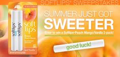 Enter To Win 1 Of 100 Softlips Peach Mango/Vanilla 2-Packs http://www.samplestuff.com/2012/07/enter-to-win-1-of-100-softlips-peach-mangovanilla-2-packs/ (thanks Laura!)