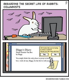 REGARDING THE SECRET LIFE OF RABBITS is featured in the quarterly rabbit magazine:BUNNY MAD! Diggy actually does have a column in said magazine.Check out this COMPLETELY RABBIT FOCUSED magazine out of the UK!Click thru:BUNNY MAD!