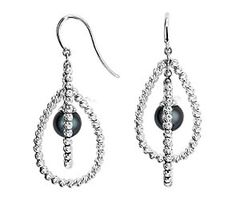 Black Freshwater Cultured Pearl and Sparkle Bead Earrings in Sterling Silver