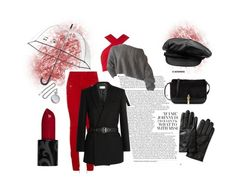 """Black, red, hello"" by alicediangelo on Polyvore featuring Banana Republic, Kate Spade, Balmain, Motel, Yves Saint Laurent, Cathy's Concepts and Elizabeth and James"
