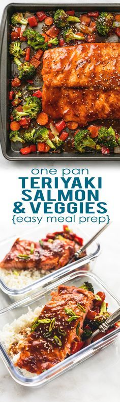 Easy and healthy ONE PAN Teriyaki Salmon & Vegetables is a tasty sheet pan dinner and perfect for simple meal prep!   http://lecremedelacrumb.com