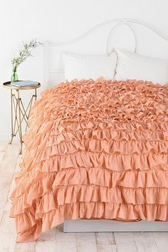Waterfall Ruffle Duvet Cover - Peach - Full/Queen via Urban Outfitters.