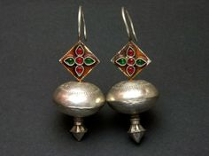 Afghani earrings - silver with red and green stones Silver Jewellery Indian, Turkish Jewelry, Silver Jewelry, 925 Silver, Silver Ring, Sterling Silver, Silver Bracelets, Moon Jewelry, Tribal Jewelry
