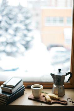 marzipan mandel bread w/ cacao nibs & sea salt Coffee And Books, I Love Coffee, Coffee Break, Morning Coffee, Coffee Study, Coffee Cafe, Coffee Drinks, Coffee Shop, Manhattan Transfer