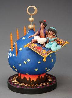 Aladdin e Jasmine Cake - cake designer - Pastel de Tortilla Crazy Cakes, Fancy Cakes, Cute Cakes, Gorgeous Cakes, Amazing Cakes, Fondant Cakes, Cupcake Cakes, Aladdin Cake, Aladdin Princess