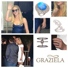 Oscar winning actress Jennifer Lawrence was seen all weekend at Comic-Con International in Graziela Gems Jewelry. Here she is in our Opal Perfection Ring, White Ascension Ring and our Black Couture Band! #designer #jewelry #jenniferlawerence #diamondring #fashion #gold #opal #opalring #celebritystyle