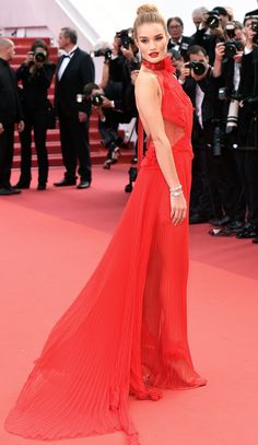 All the Glamour, Glitz and Gowns from the Cannes 2016 Red Carpet | People - Rosie Huntington-Whiteley in a red Alexandre Vauthier Couture dress