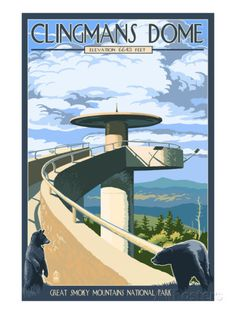 Great Smoky Mountains National Park, Tennesseee - Clingmans Dome (Art Prints, Wood & Metal Signs, Ca National Park Posters, National Parks, Wisconsin, Michigan, Smoky Mountain National Park, Appalachian Trail, Great Smoky Mountains, Vintage Travel Posters, Poster Vintage