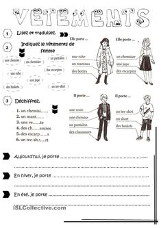 Risultati immagini per les vetements worksheets French Learning Games, French Teaching Resources, Teaching French, French Language Lessons, French Language Learning, French Lessons, French Flashcards, French Worksheets, How To Speak French