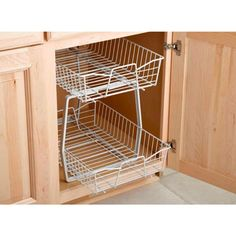 ClosetMaid presents this unique White Epoxy Finish 14 In. W Dual-Slide Cabinet Organizer to organize your kitchen or bathroom. This pull-out cabinet organizer features 2 ventilated wire baskets that slide independently. Kitchen Appliance Storage, Small Kitchen Organization, Diy Kitchen Storage, Home Organization Hacks, Storage Cabinets, Kitchen Hacks, Kitchen Ideas, Kitchen Gadgets, Organizing Kitchen Cabinets