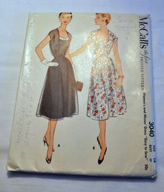 1950s day dress sewing pattern McCalls 3040 by PattensAtticTreasure, $20.00