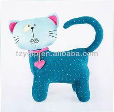 Cute blue plush cat cushion, animal shaped pillow