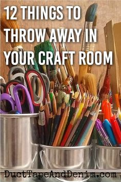 Organizing a Craft Room: 12 Things You Need to Throw Away Right Now You know you have to declutter y Craft Room Storage, Storage Ideas, Craft Storage Solutions, Sewing Room Storage, Scrapbook Organization, Sewing Room Organization, Organizing Crafts, Organizing Clutter, Organising