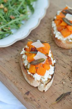 Roasted Squash and Cottage Cheese Bruschetta
