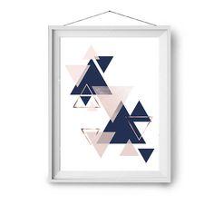 Navy Blush Copper Scandinavian Print Abstract Art Geometric