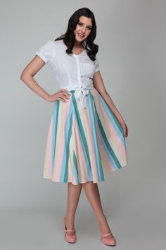 She features our bespoke stripe print and teams perfectly with our Misty Blouse for a summer look. Just Like Candy, Swing Skirt, Stripe Skirt, Summer Looks, Bespoke, Pin Up, Midi Skirt, Tea Cups, Size 10