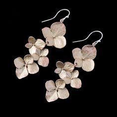 Hydrangea Flower Dangle Earrings by Michael Michaud Flower Earrings, Dangle Earrings, Wire Jewelry, Silver Jewelry, Jewellery, Hydrangea Flower, Schmuck Design, Botanical Art, Jewelry Collection