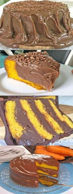 Bolo de cenoura de liquidificador com cobertura de chocolate - Dump Cake Recipes, Homemade Cake Recipes, Baking Recipes, Food Wishes, Good Food, Yummy Food, Creative Food, Sweet Recipes, Cupcake Cakes