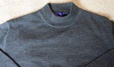 Alan Flusser Men's Large Merino Wool Grey Dark High Crew Neck Sweater  #AlanFlusser #VNeck