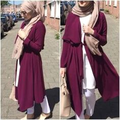 maroon belted cardigan hijab- Long and modest hijab outfits http://www.justtrendygirls.com/long-and-modest-hijab-outfits/