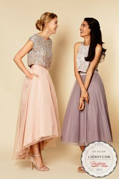 2 pieces and a hi low skirt give your girls a super modern and comfy feel. #weddings #weddingdresses #bridesmaids #brides #lesalonbridal #2piece #hilow #modern #trendy #fashion #ideas #inspiration