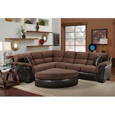 Chelsea Home McLean 2 Piece Sectional Sofa Brown Sectional, 2 Piece Sectional Sofa, Brown Sofas, Couch, Furniture Depot, Living Room Furniture, Furniture Ideas, White Furniture, Chelsea