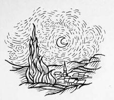 Starry night tattoo Van Gogh aaaaaaaa que lindo Diy Tattoo, Tattoo Foto, Van Gogh Tattoo, Line Tattoos, Body Art Tattoos, Van Gogh Tatuaje, Desenhos Van Gogh, Tattoo Drawings, Art Drawings