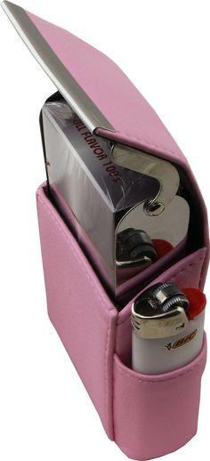 Genuine Leather Pink Fliptop Cigarette Case - WholesaleLeatherSupplier.com  - 16
