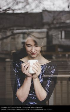 woman portrait, female, drinking coffee, cafe, dreamy