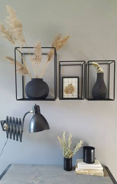 Stoer Metaal muurkastje Outline, zwart - Lilly is Love Cafe Design, Interior Design, Interior Decorating, Living Room Decor, Bedroom Decor, Lounge Decor, Curtain Designs, House Rooms, Home Decor Items