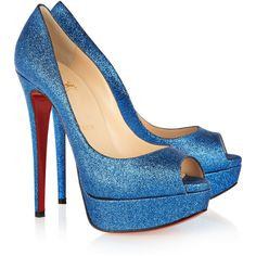 Christian Louboutin Lady Peep 150 glitter-finished pumps ($885) via Polyvore