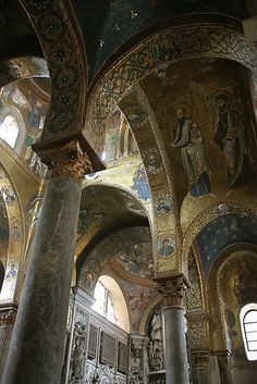 Church of Santa Maria dell'Ammiraglio or San Nicolò dei Greci, commonly called the Martorana, Palermo, Sicily, Italy, 1150s, Byzantine