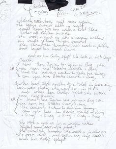 """gypsydungeon: """"Paul Westerbergs handwritten lyrics to Crackle & Drag """" Paul Westerberg, Everything And Nothing, Writing Advice, Great Bands, Ny Times, Songs, Lyrics, Simple, Coat Hanger"""