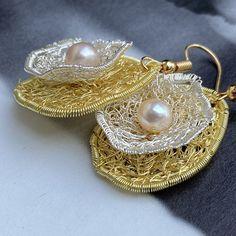 Pearl Earrings, Drop Earrings, Crochet Earrings, Etsy, Pearls, Jewelry, Fashion, Schmuck, Woman