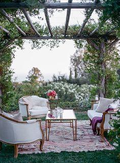 A Lush Secret Garden-Inspired Wedding at San Ysidro Ranch in California Outdoor Lounge Furniture, Outdoor Rooms, Outdoor Gardens, Outdoor Living, Outdoor Decor, Lounges, Wedding Lounge, Wedding Reception, Wedding Pergola