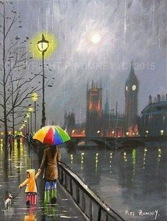 by Pete Rumney Disney Drawings, Art Drawings, London Painting, Big Ben London, Rain Art, Illustration Art, Illustrations, Umbrella Art, Art Plastique