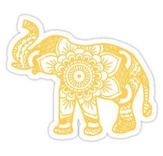 """Mandala Elephant Yellow"" Stickers by laurauroraa Tumblr Stickers, Phone Stickers, Macbook Stickers, Planner Stickers, Red Bubble Stickers, Cute Stickers, Trendy Wallpaper, Aesthetic Stickers, Sticker Design"
