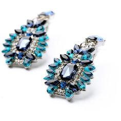 Statement Trendy Jewelry Elegant Shiny Resin Stone Blue Plant Stud Earrings Factory