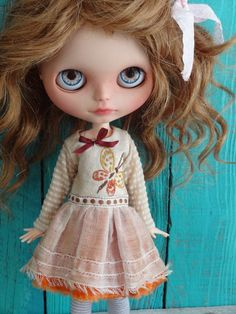Blythe doll outfit *Fly fly butterfly* OOAK vintage embroidered dress