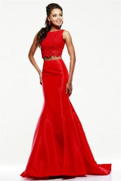 2015 Red Lace Sherri Hill 21372 Two Piece Mermaid Dresses