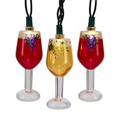 Pack of 10 Tuscan Winery Wine Glass Light Set Red and Golden -- Click image to review more details.